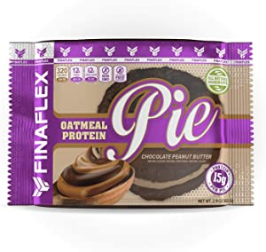 Oatmeal Protein Pie Chocolate Peanut Butter, All Natural Soft and Chewy Non GMO Protein Snack, Gluten Free, Kosher, 15g Protein, 12g Fiber, Only 8 Sugars, Creamy Marshmallow Protein Filling