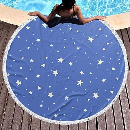 UUwant Toalla de Playa Redonda Round Beach Towel BlueStars ...