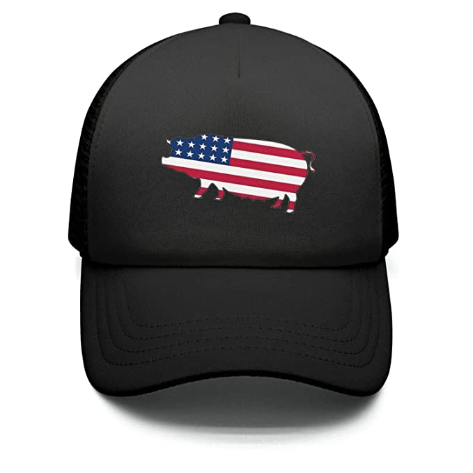 298b3a0c5ffd5 American Flag Pig Teen Girls Baseball Hat for Boys and Girls Fitted  Flat-Along Caps