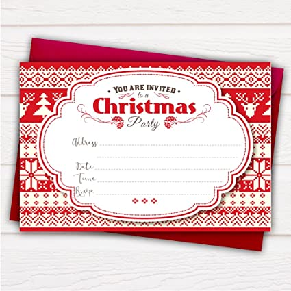 Pack Of 20 Glossy Christmas Party Invitations Cards Canadian