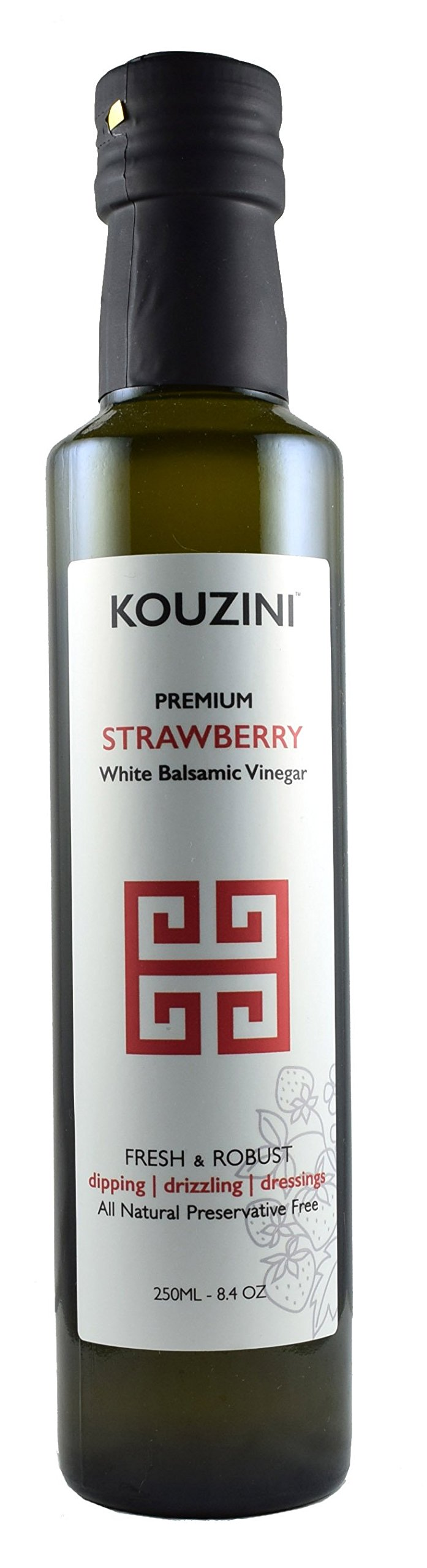 Kouzini White Strawberry Balsamic Vinegar (Limited time edition) 1 Strawberry Naturally thick, sweet and delicious. Great for drizzling, dippings, dressings, and marinades.