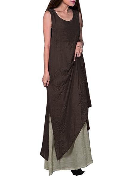 Summer Women Bohemian Dress Vintage Retro Linen Sleeveless Loose Woman Boho Long Maxi Dresses Twinset Female