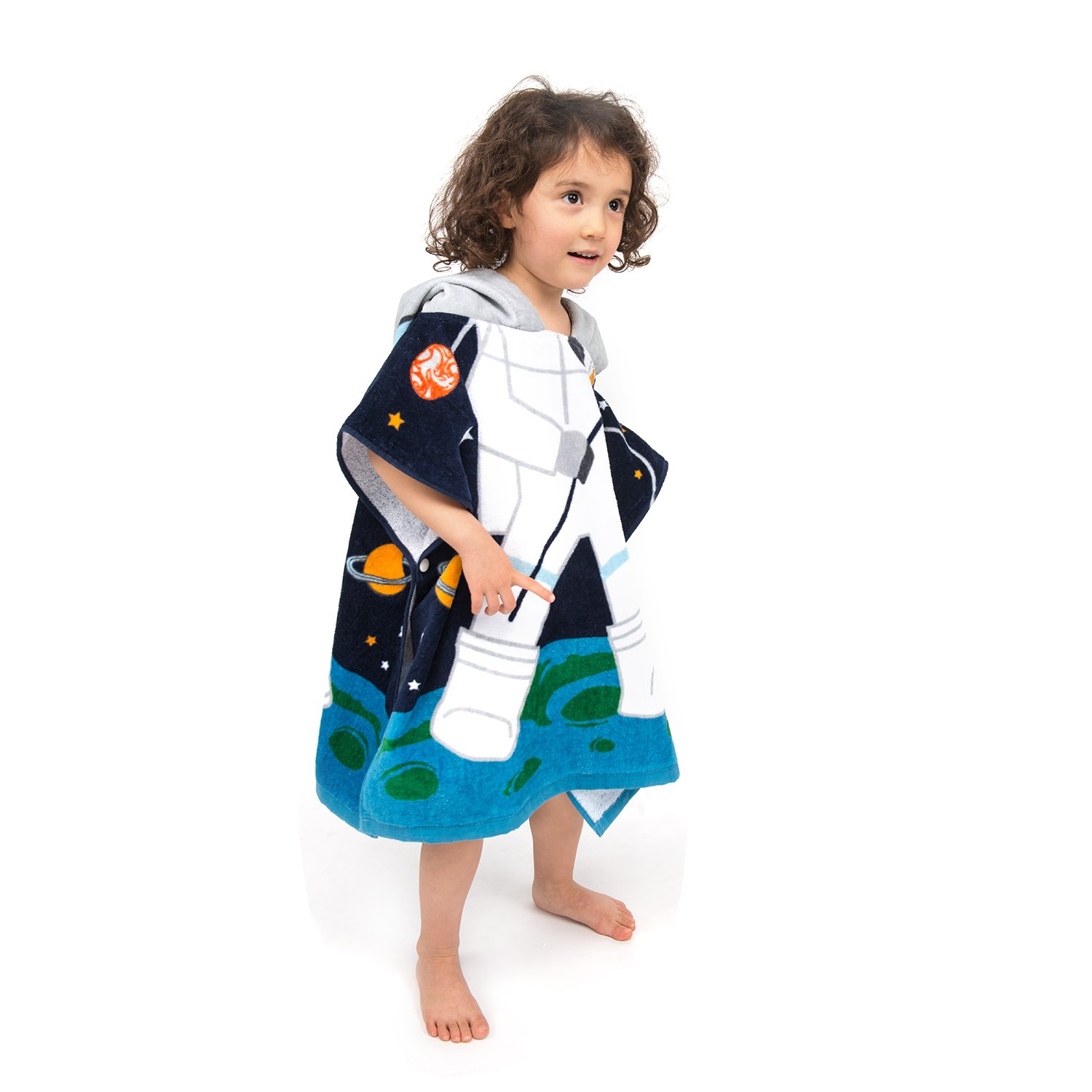 ZINGLIFT Kids Hooded Towel Poncho for Age 2-7 Years Old Cotton Beach Pool Shower Swim Bath Towel for Boys Girls Toddlers Children Size 24''x 47'' (Astronaut Dream)