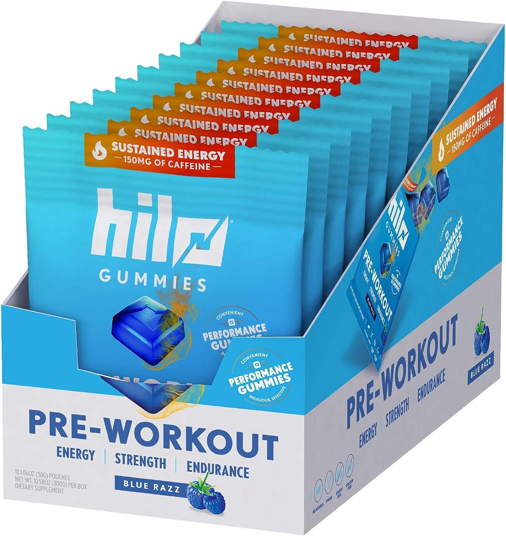 Amazon.com: Hilo Pre-Workout Energy Gummies - Caffeine, Beta Alanine and S7  Nitric Oxide Booster - Gluten Free & Vegan - Blue Razz Flavor, 10 Single  Serve Packs: Health & Personal Care