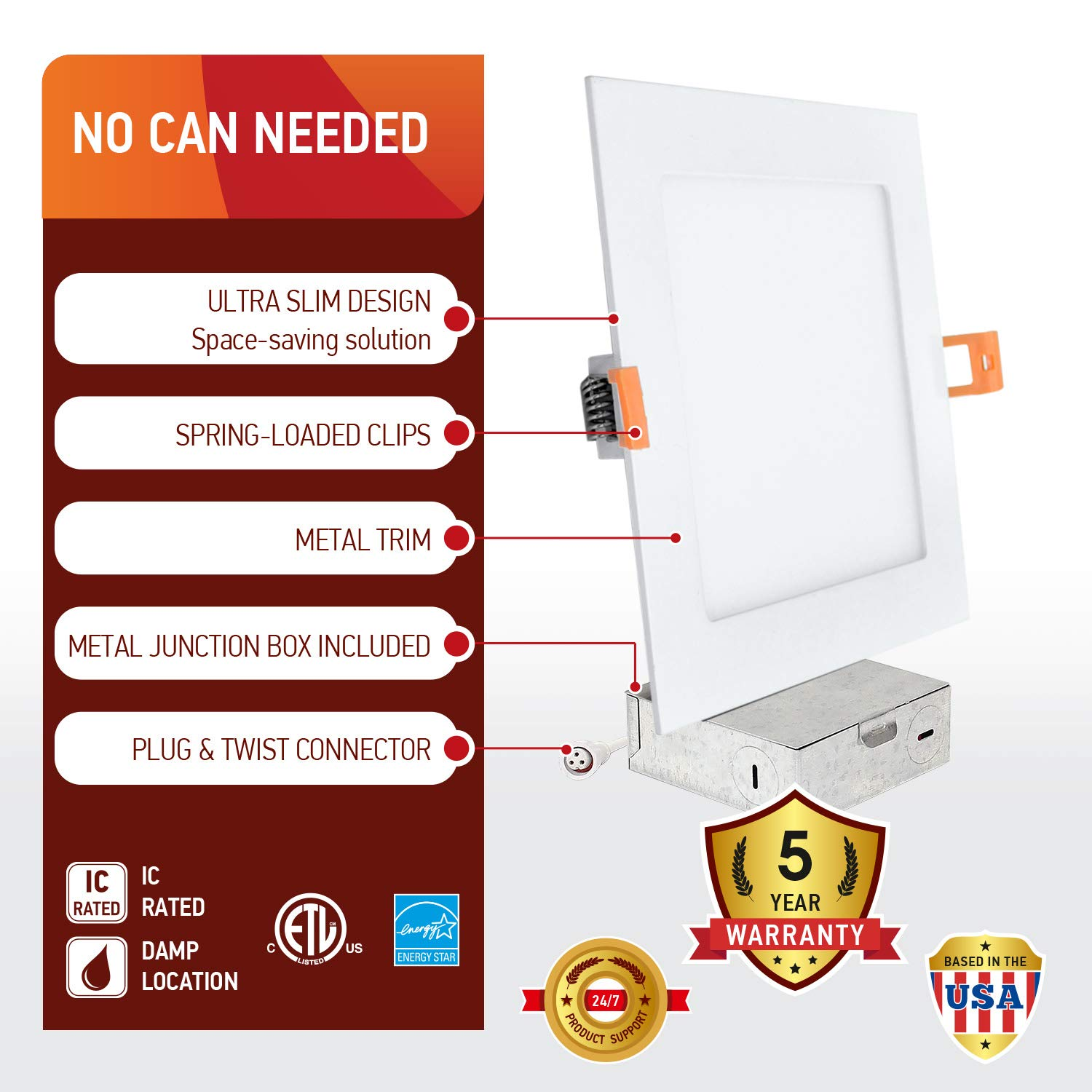 OSTWIN (4 Pack) 6 inch 12W (60 Watt Repl.) IC Rated LED Recessed Low Profile Slim Square Panel Light with Junction Box, Dimmable, 5000K Daylight 840 Lm. No Can Needed ETL & Energy Star Listed by OSTWIN (Image #3)
