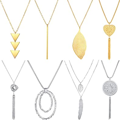 Pendant Jewelry Sweater Chain Crystal Tassel Square Shape Pendant Necklace