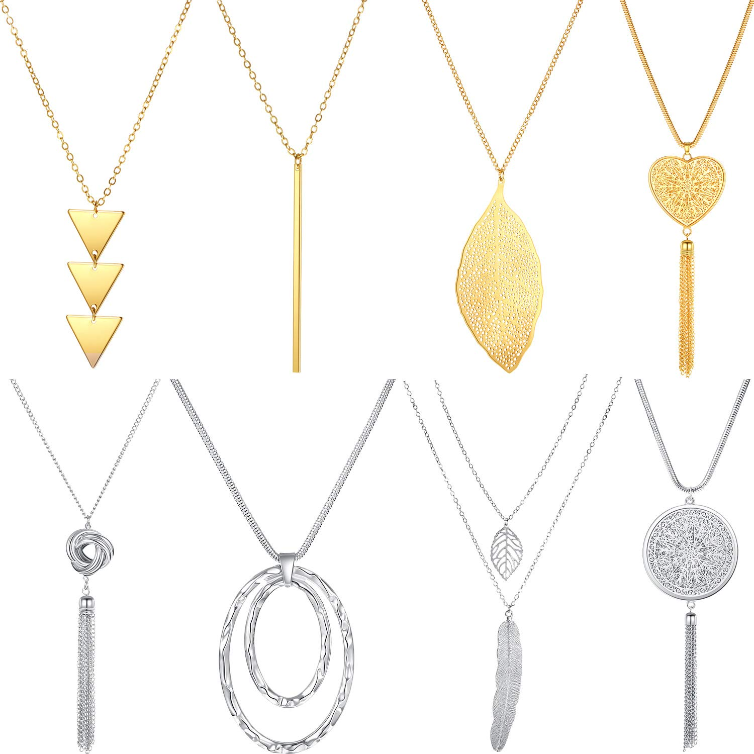 8 Pieces Long Pendant Necklace Simple Y Shape Necklace Metal Geometric Sweater Necklace Jewelry for Women Girls Wearing, Gold and Silver by Hicarer