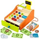 Imagination Generation Wood Eats! Change & Charge Educational Cash Register Toy with Play Wooden Coins, Bills & Credit Cards (22pcs)