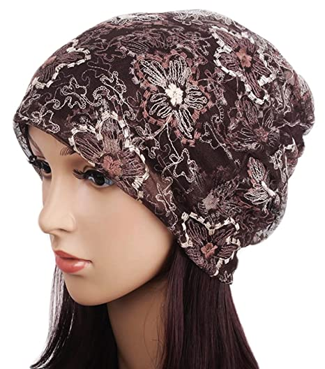 Qunson Lace Beanie Hat Cap Turban for Women Coffee