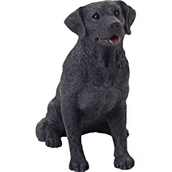 black sitting lab statue