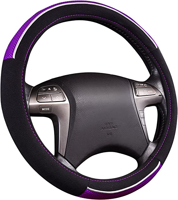 NEW ARRIVAL- HORSE KINGDOM Universal Steering Wheel Cover For Women Girls Breathable Fit Car Truck SUV Air-mesh (black with purple)