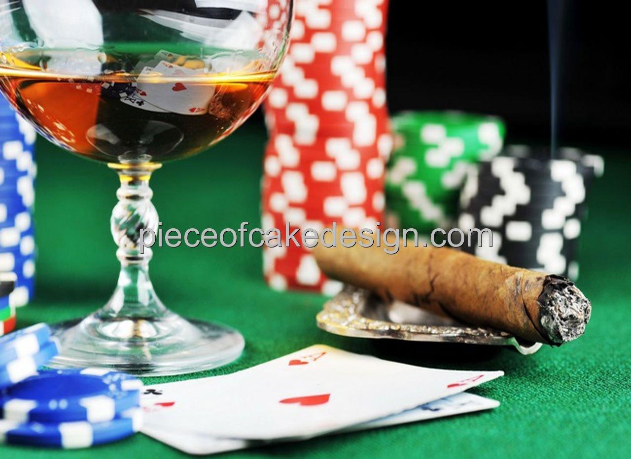 Casino puro y Alcohol Cumpleaños ~ Comestible imagen Pastel ...