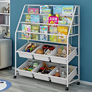 MOAMUN Children's Bookshelf, Kids Book Rack Organizer Iron Children's Toy Storage Rack with 6 Storage Box for Playroom Bedroom Living Room(Beige)