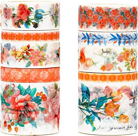 Scrapbooking Bullet Journal Spring Flower Decorative Sticky Paper Tapes for Diy Craft Planner Molshine Floral Washi Masking Tape Set of 10 C Gift Wrapping