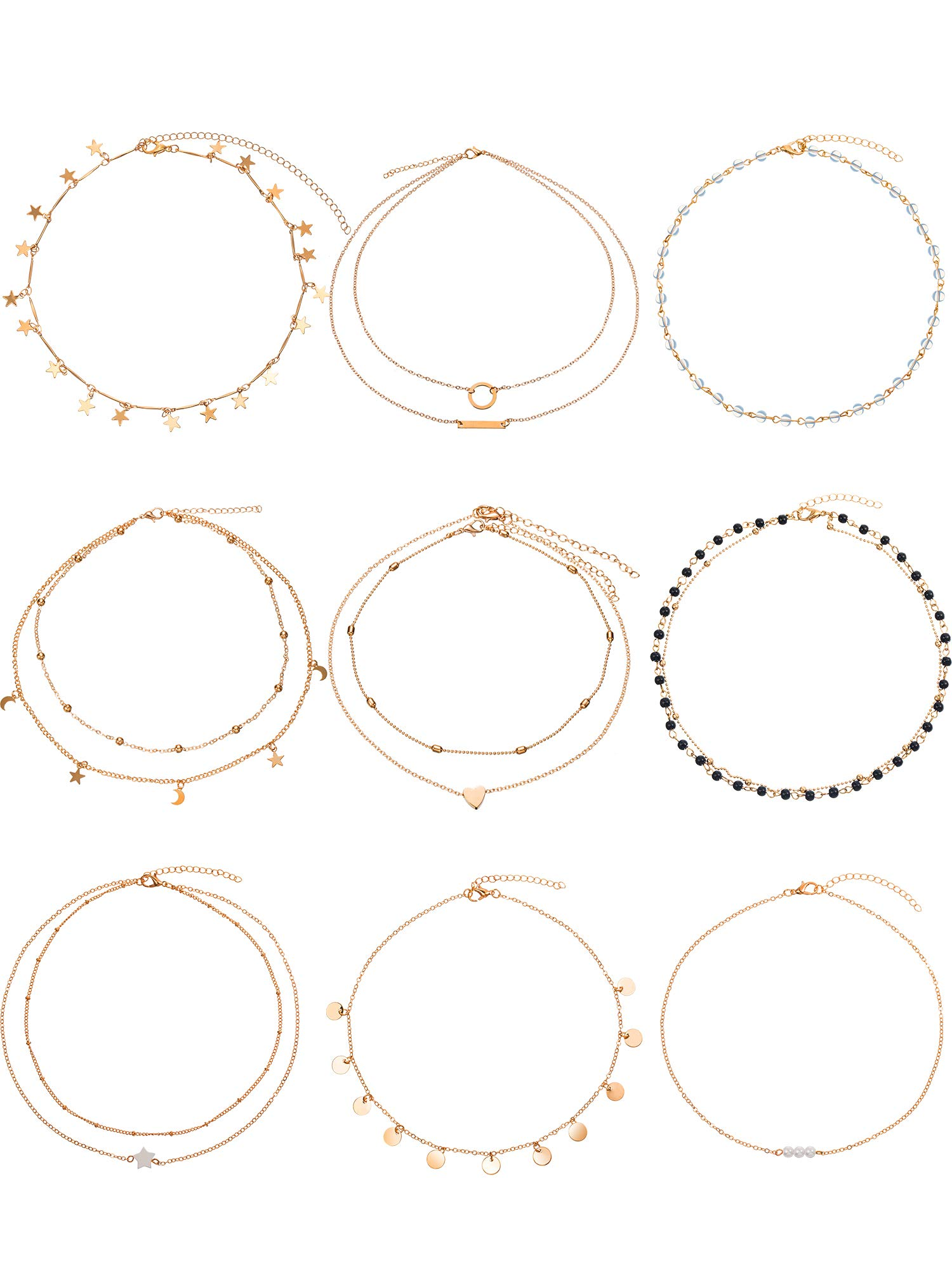 BBTO 9 Pieces Gold Layering Chain Choker Necklace Layered Pendant Statement Necklace Women Girls (Style A)