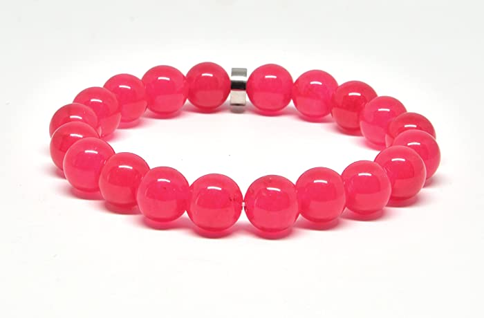 40a31061a41 Amazon.com  Genuine Pink Jade Stretch Bracelet  Handmade
