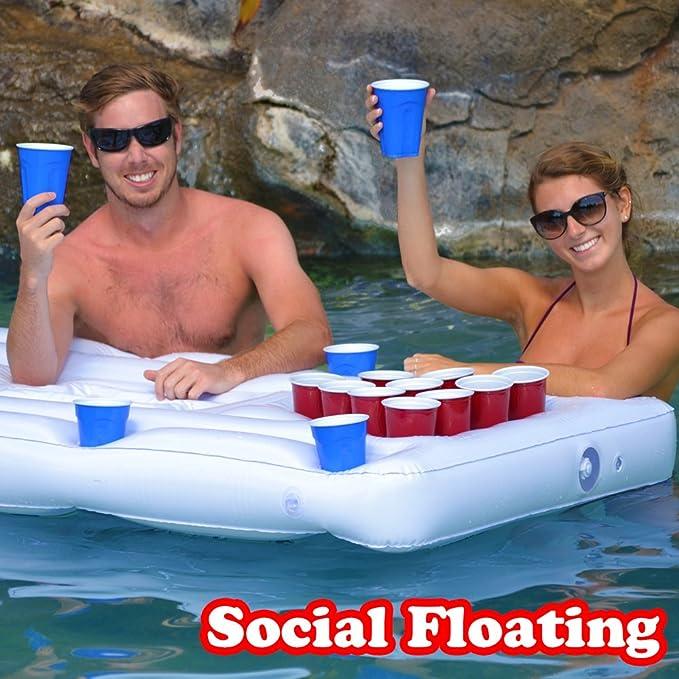 Amazon.com: Mesa flotante de Beer Pong, marca GoPong para ...