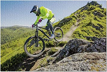 YYTOOF HD Atleta Profesional Que Monta una Bicicleta de Enduro en un Hermoso Sendero rocoso 9005707 (¡Rompecabezas Premium de 1000 Piezas de 19x27 Hecho en EE. UU.!): Amazon.es: Juguetes y juegos