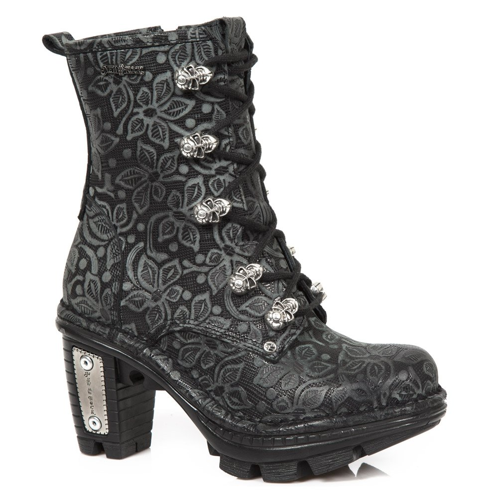New Rock Shoes - Black Floral Neotrail Ankle Boots UK 5 / Black by New Rock Shoes