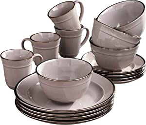 Elle Décor Lucienne Casual Round Dinnerware Set – 16-Piece Stoneware Party Collection w/ 4 Dinner Salad Plates, 4 Bowls & 4 Mugs-Unique Gift Idea, 10.75