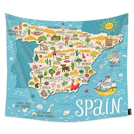 Amazon.com: Mugod Spanish Map Tapestry Sailboat Flamingo ...