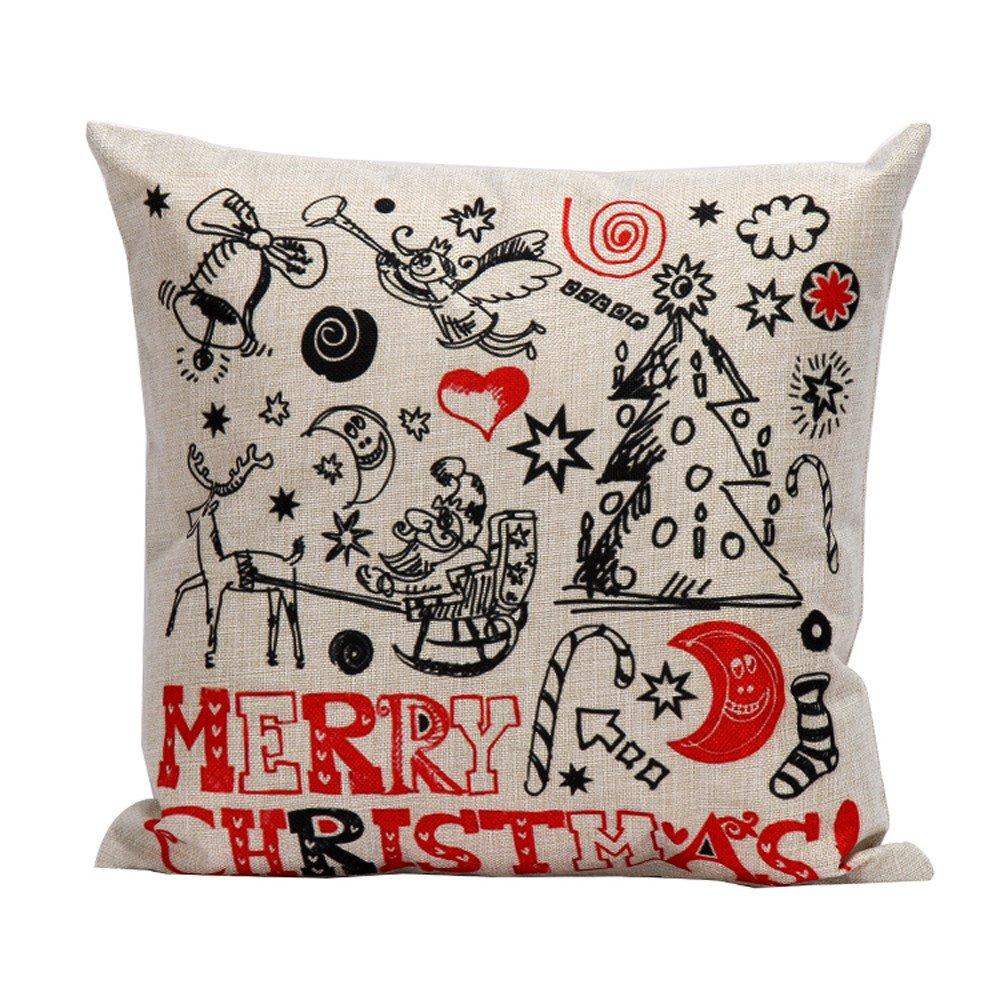 Pgojuni Christmas Pillow Case Sofa Waist Pillowcase Square Throw Pillow Cover Home Decor Cushion Cover 1pc (A)