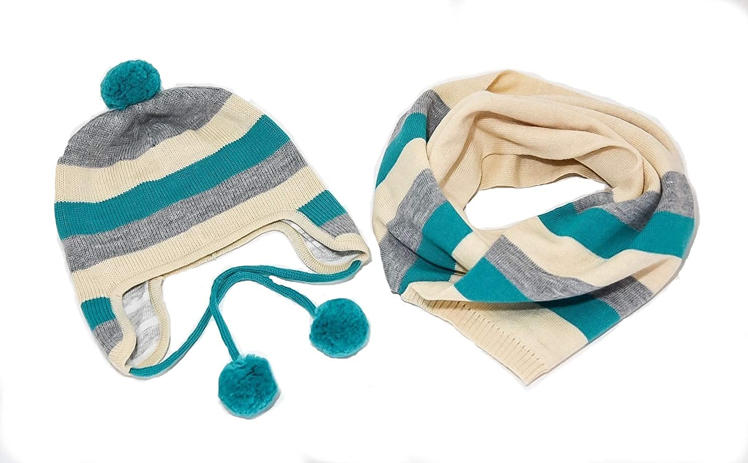 Mongolian Happily Raised Sheep Wool Hat and Scarf Set
