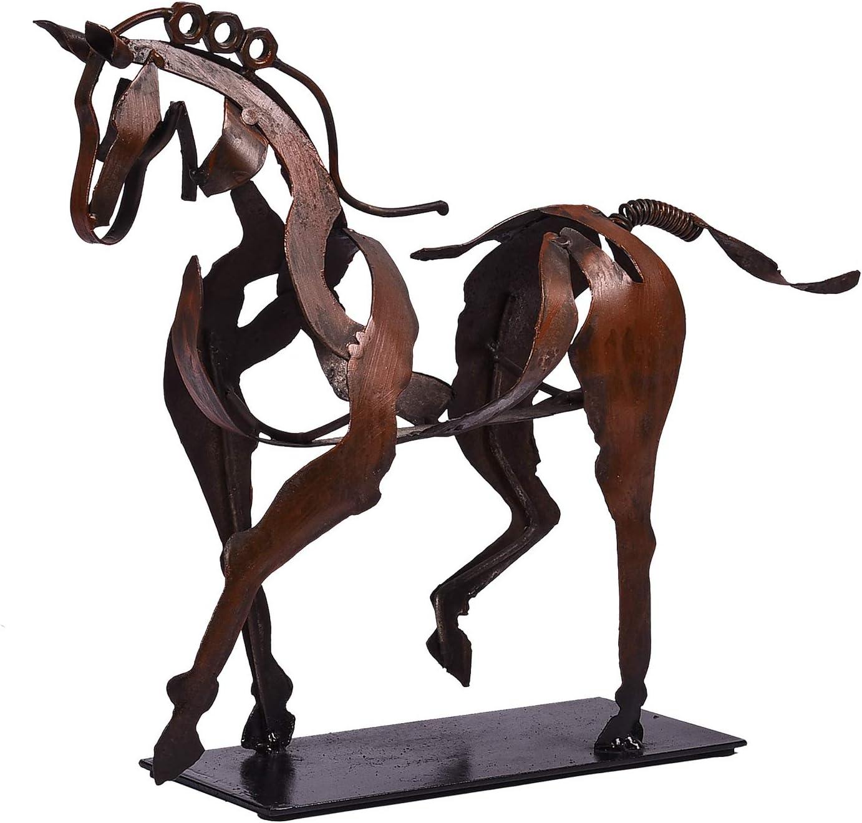 SunBlogs Art Metal Wall Decor 100% Handmade Modern Horse Sculpture Handicraft, Rustic Metal Statue Decorations Gift for Home Bookshelf Fireplace Office Desk Shelf Decor(Style 1)