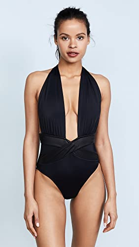 latest fashion retro clearance OYE Swimwear Women's Roman Plunge Neck One Piece, Black ...