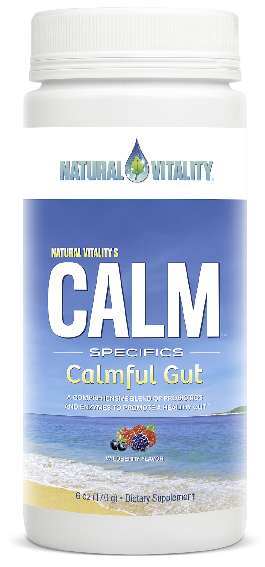 Natural Vitality CALM Specifics Calmful Gut - Probiotics and Enzymes for a Healthy Gut - Wildberry, 6 oz