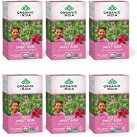 ORGANIC INDIA Tulsi Sweet Rose Tea - Delicious Sweet Rose and Holy Basil Blend Rich in Antioxidants - Caffeine Free, 100…