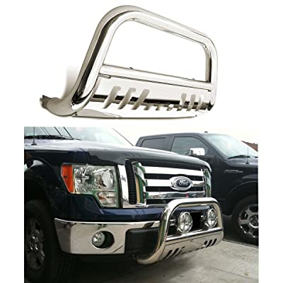 Bull Bar Skid Plate Front Push Bumper Grille Guard Stainless Steel Chrome for 2008 2009 2010 Ford F250 / F350 / F450 / F550 Super Duty