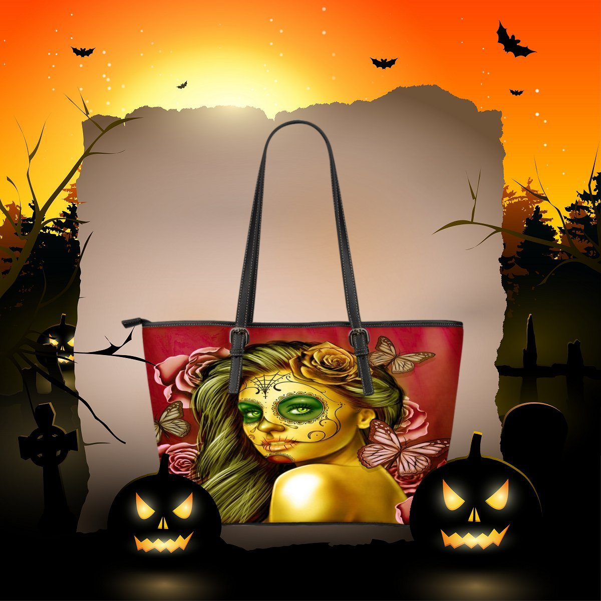 Amazon.com: DealioHound Calavera Design #2 Large Vegan PU Faux Leather Tote Bag (Yellow Smiley Face Rose): Shoes