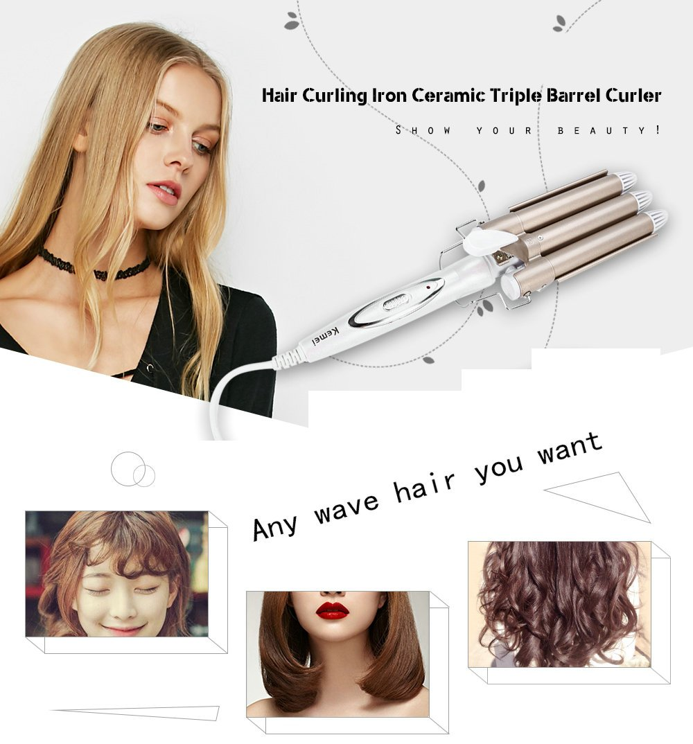 Goodpro Hair Curlers Triple Barrel Hair Curling 110 220v Iron Ceramic Hair Waver Styling Tools Wave Curlers For Long Short Hair Buy Online In United Arab Emirates At Desertcart Productid 48928805