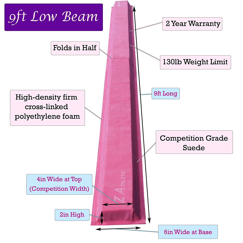 Z-Athletic Gymnastics Folding Training Low Beam for Gymnastics Tumbling Multiple Sizes and Styles