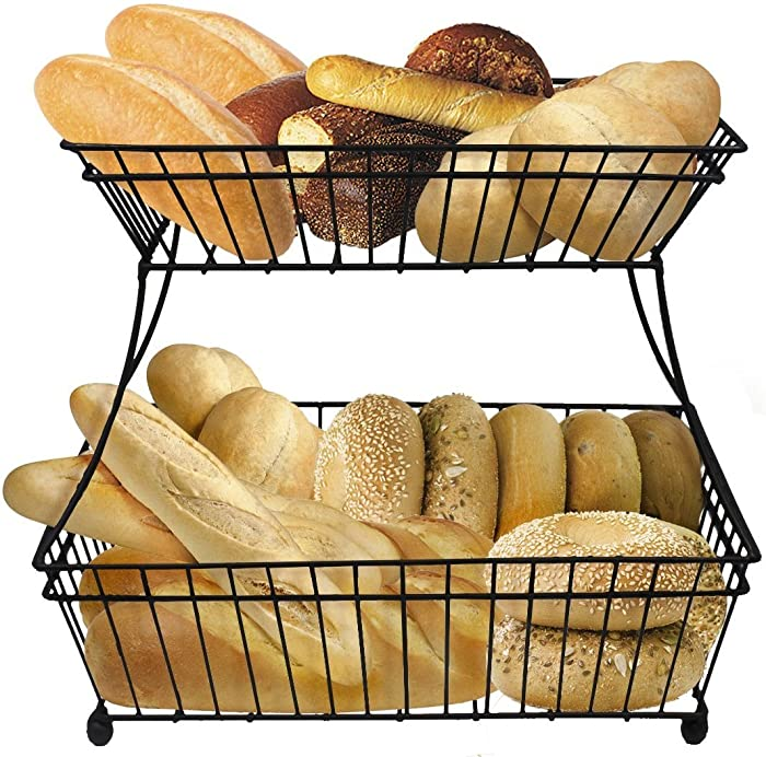 Sorbus Bread Basket, 2-Tier Flat-Back Metal Countertop Fruit & Vegetable Rack, Great for Bread, Snacks, Household Items, Kitchen Storage and More, Antique Style (Black)