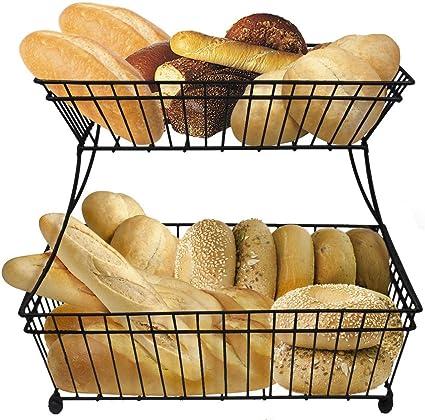 Sorbus Bread Basket, 2 Tier Flat Back Metal Countertop Fruit U0026 Vegetable  Rack
