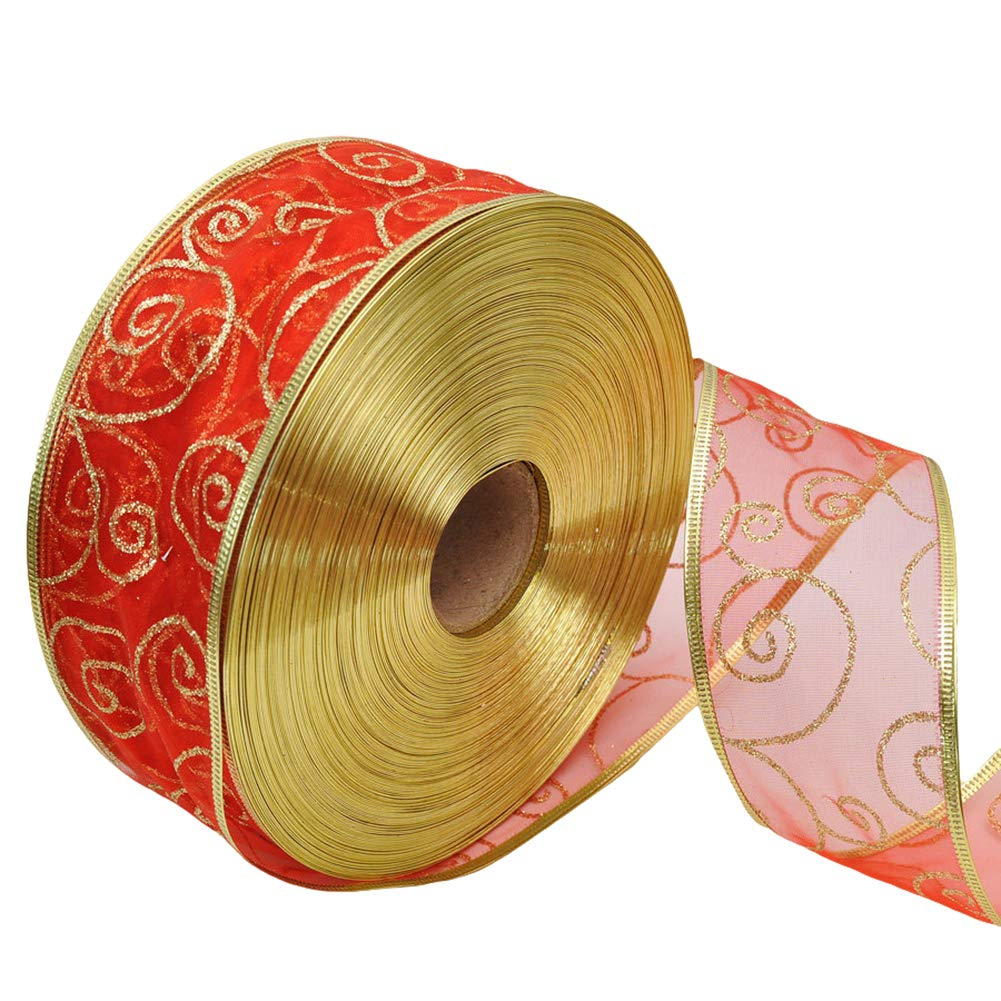 SuBoZhuLiuJ 200x5cm Glitter Ribbon Wrapping Bow Packaging Belt Xmas Decor - Red