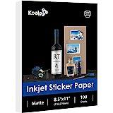 Koala Sticker Paper, Matte White, 100 Sheets 8.5x11 Inch Printable Full Sheet Label Paper for Inkjet Printers