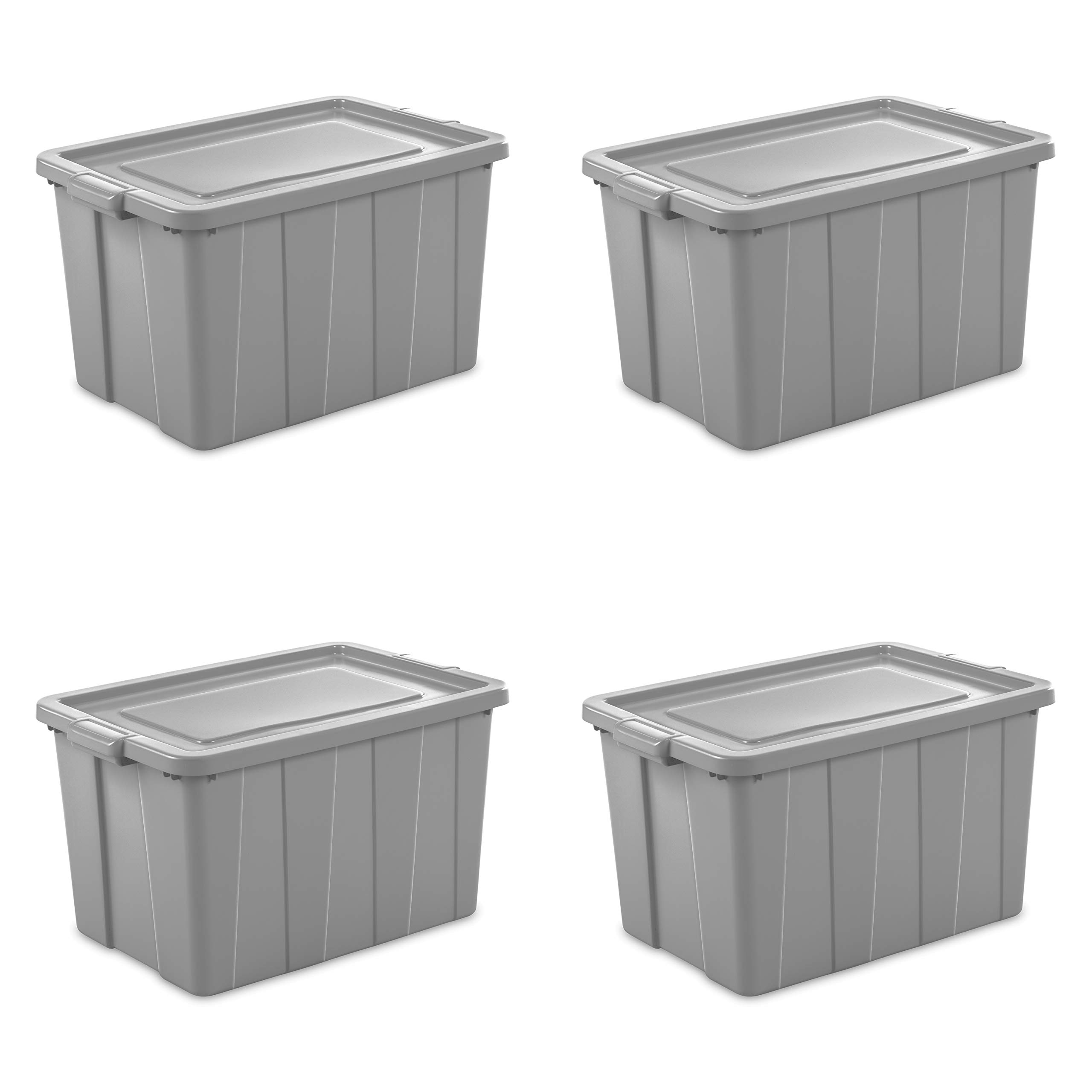 Sterilite 16796A04 Storage Tote, 30 gallon, Cement Lid and Base (Pack of 4) by STERILITE