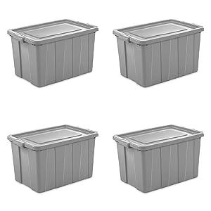 Sterilite 16796A04 Storage Tote, 30 gallon, Cement Lid and Base