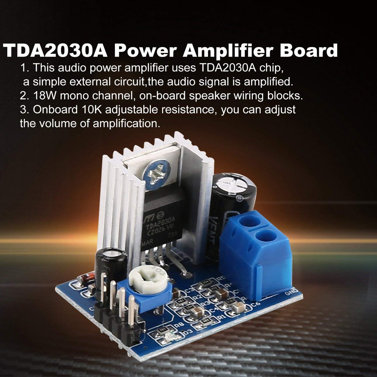 Ballylelly Para TDA2030A Super Mini DC 6-18V M/ódulo de Placa de Amplificador de Potencia Dual Channel Electronic DIY Tool Audio Amplificar Volumen Ajustable