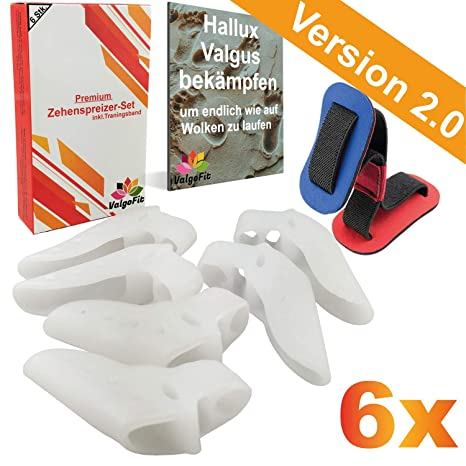 EINFÜHRUNGSANGEBOT - ValgoFit® [6x] Zehenspreizer gegen Hallux Valgus mit Ballenschutz + gratis Trainingsband - effektiv und