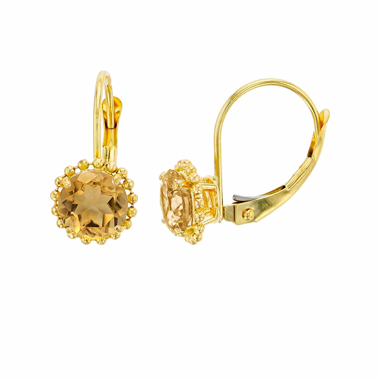 14K Yellow Gold 6mm Round Citrine Center Stone Bead Frame Leverback Earring