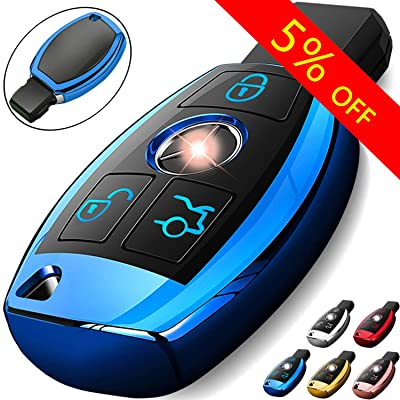 COMPONALL for Mercedes Benz Key Fob Cover, Key Fob Case for Mercedes Benz C E M S CLS CLK GLK GLC G Class Premium Soft TPU Full Cover Protection Smart Remote Keyless Key Fob Shell, Blue: Automotive