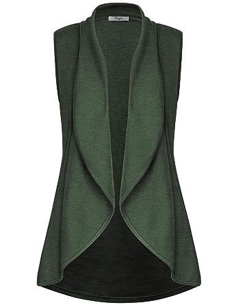 89b13c119dcdc6 Cestyle Women s Lapel Open Front Sleeveless Vest Cardigans at Amazon  Women s Clothing store