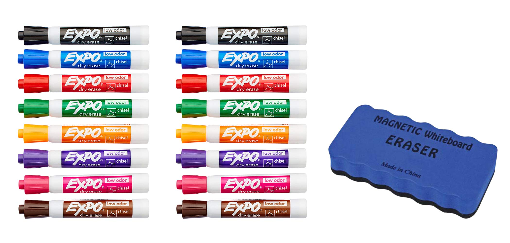 EXPO Low Odor Dry Erase Markers, Chisel Tip, Assorted Colors, 16 Count | Dry Erase Whiteboard Magnetic Board Eraser, Soft Pile