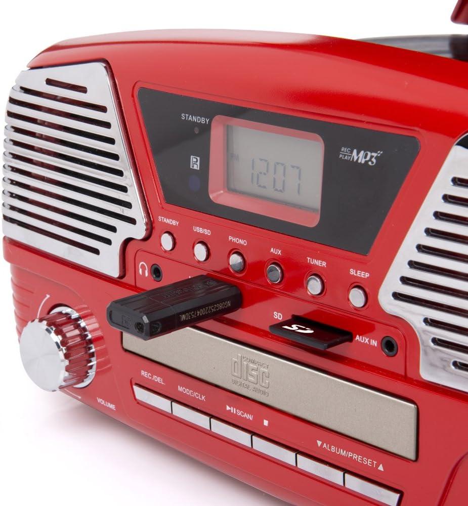 Dmail - Radio Tocadiscos multifunción Vintage, Color Rojo: Amazon ...