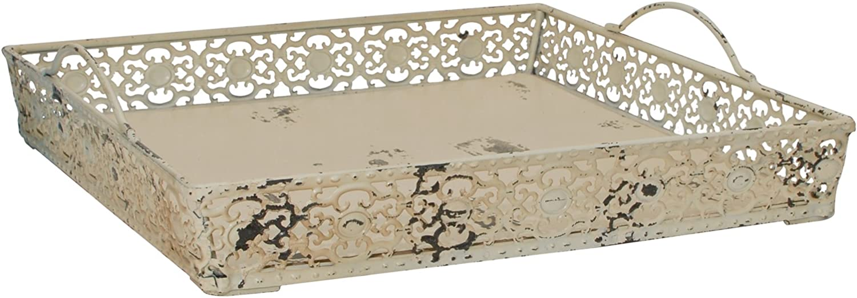 Burgundy Vintage Antique Design Decorative Metal Serving Tray with 2 Handles