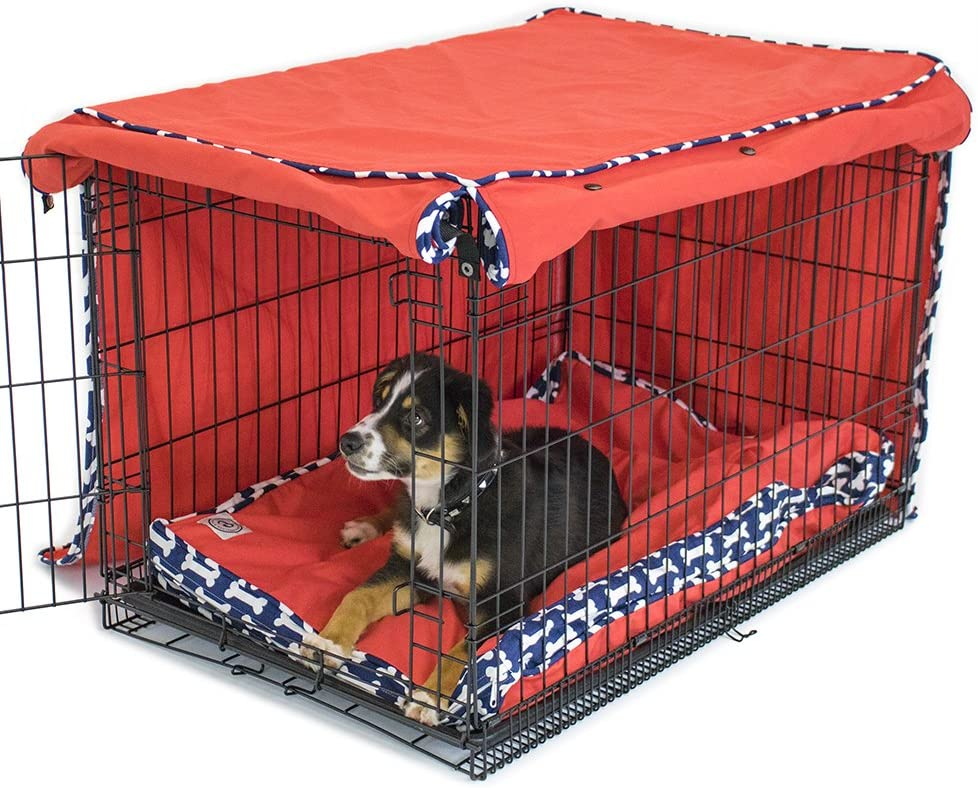 Cardinal Crest Give a Dog a Bone Crate Cover Completely Covers Kennels and Wire Crates with Double Access Door Panels